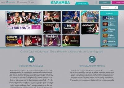 Karamba Live Casino Lobby