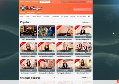 LeoVegas Live Casino Lobby