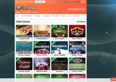 LeoVegas Table Games lobby