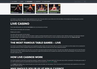 NinjaCasino Live Casino Lobby