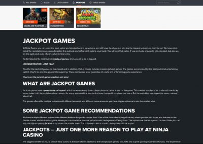 Ninja Casino Jackpot Games
