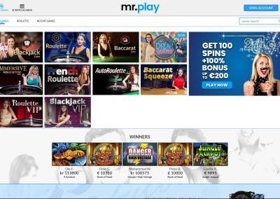 mr.play Live Casino Games Lobby