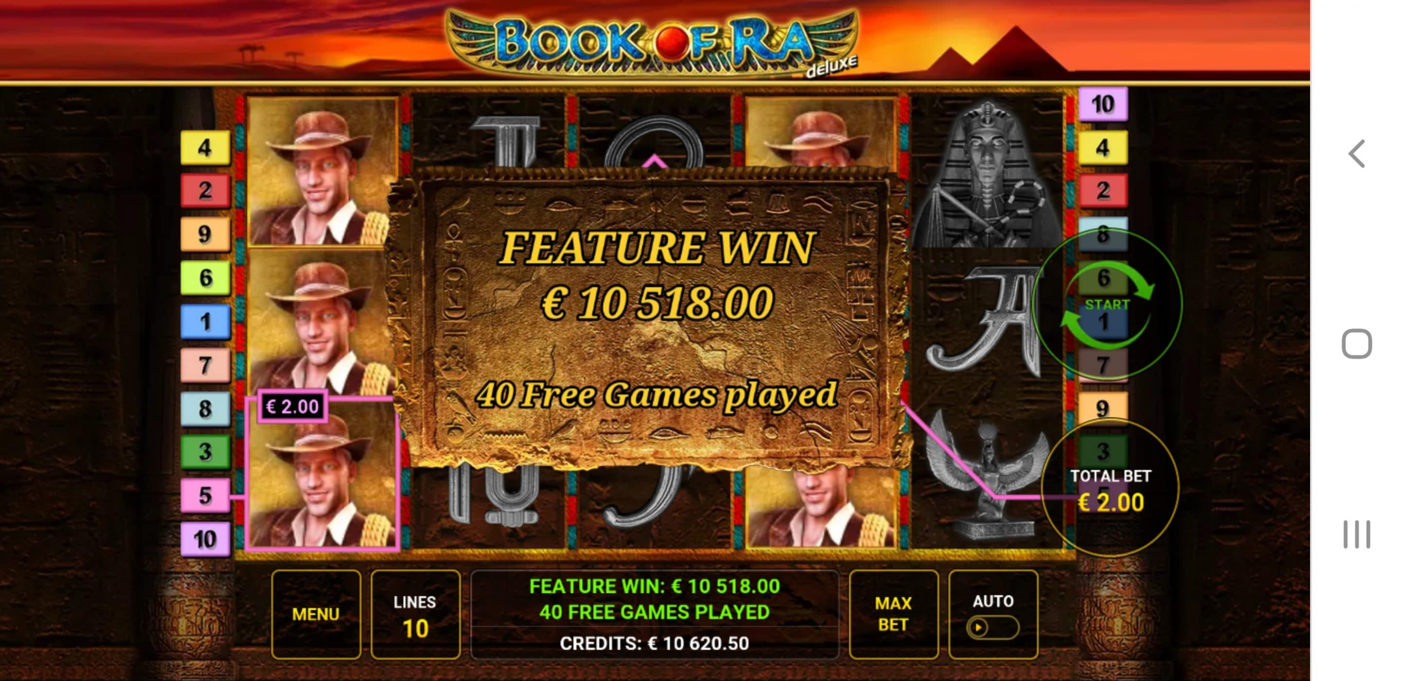 Book of Ra Deluxe by Novomatic Big Win Picture