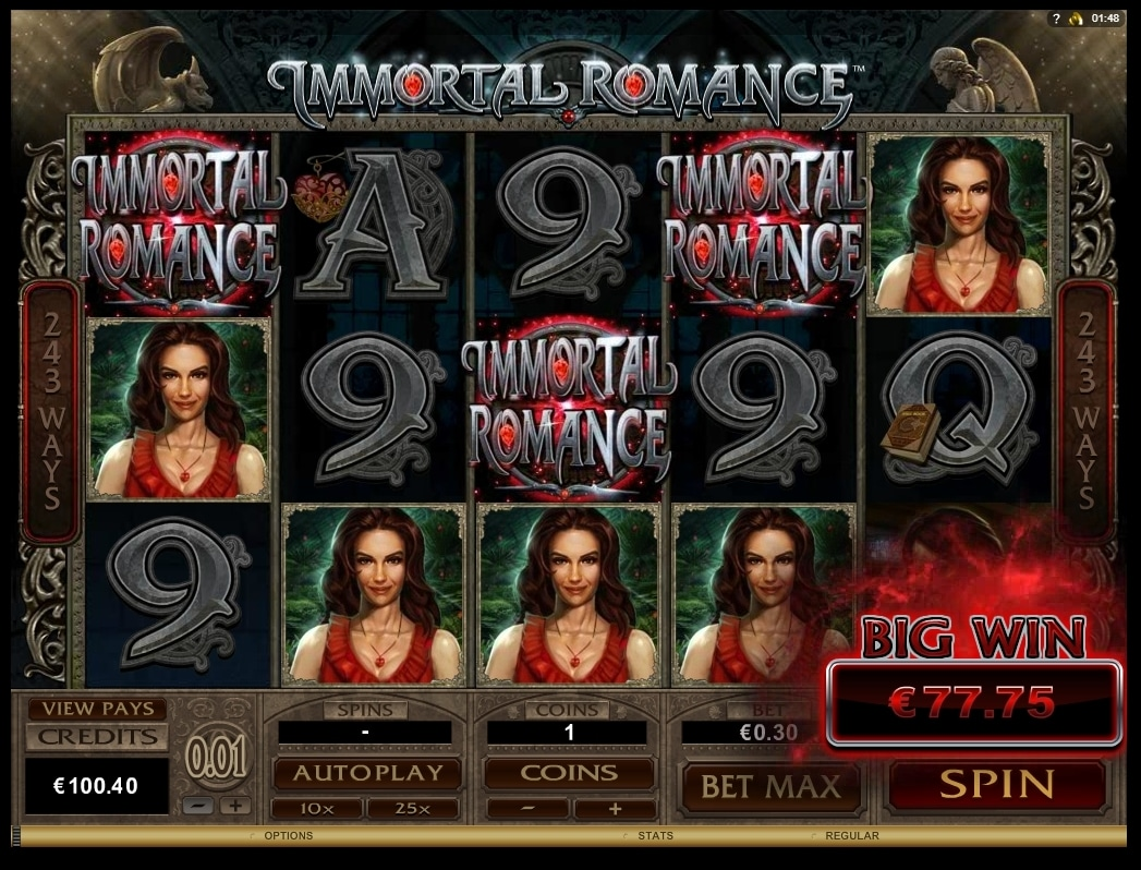 Immortal Romance By Microgaming Big Win Picture