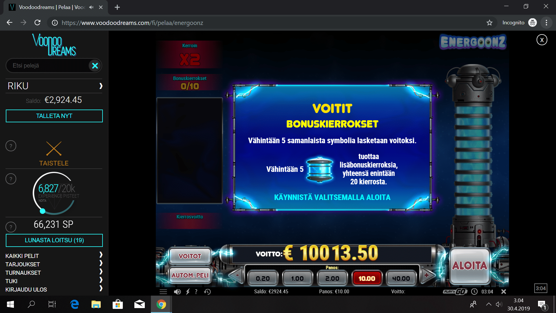 Energoonz slot big win picture