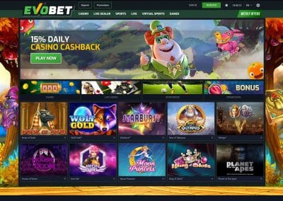 Evobet Casino Lobby Screenshot