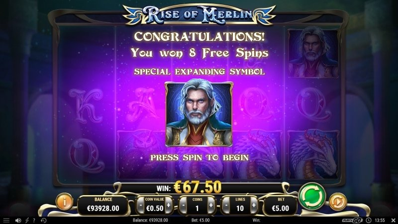 Rise Of Merlin Free Spins Feature