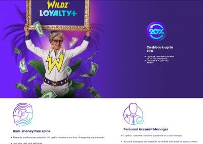 Wildz Casino Loyalty+ Lobby Screenshot