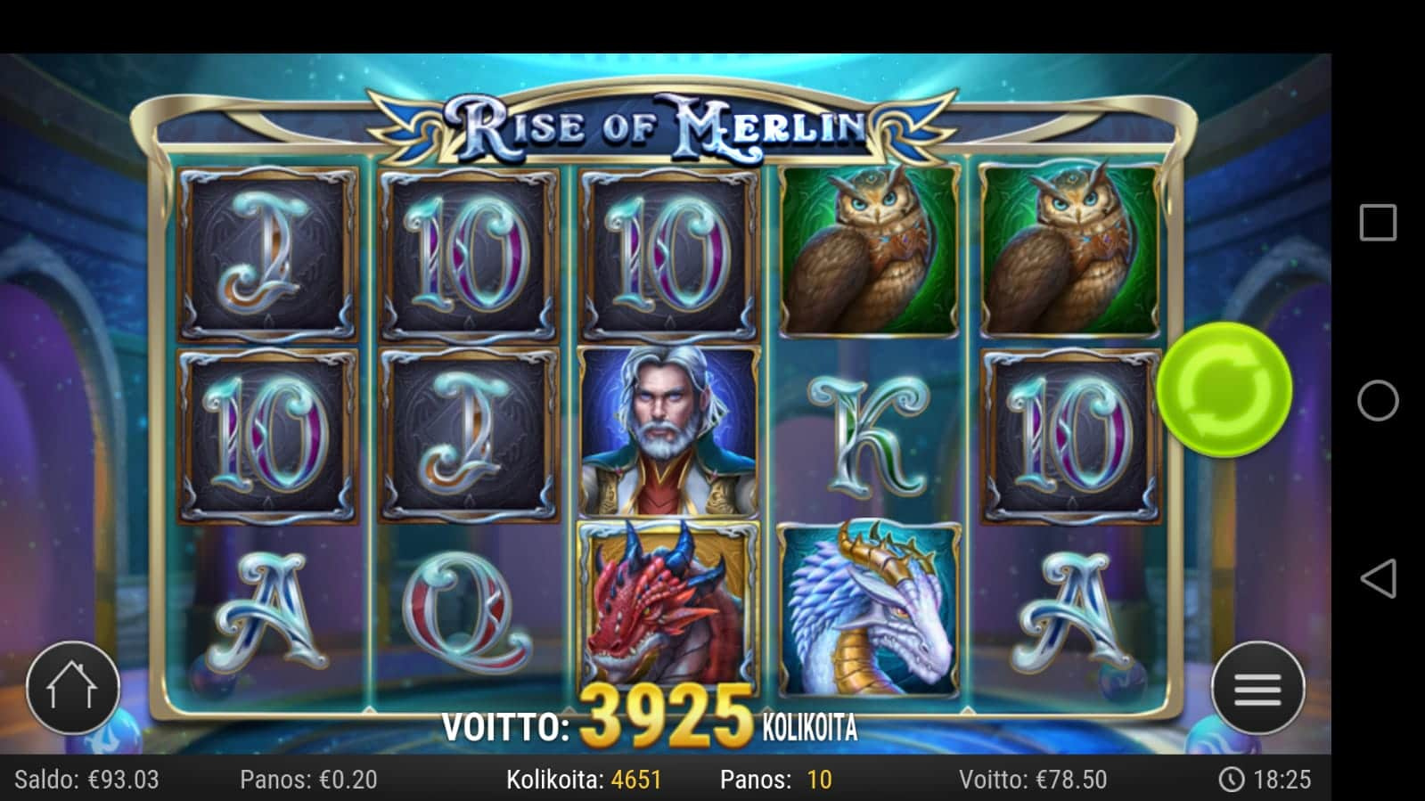 Rise of Merlin slot Big win Picture