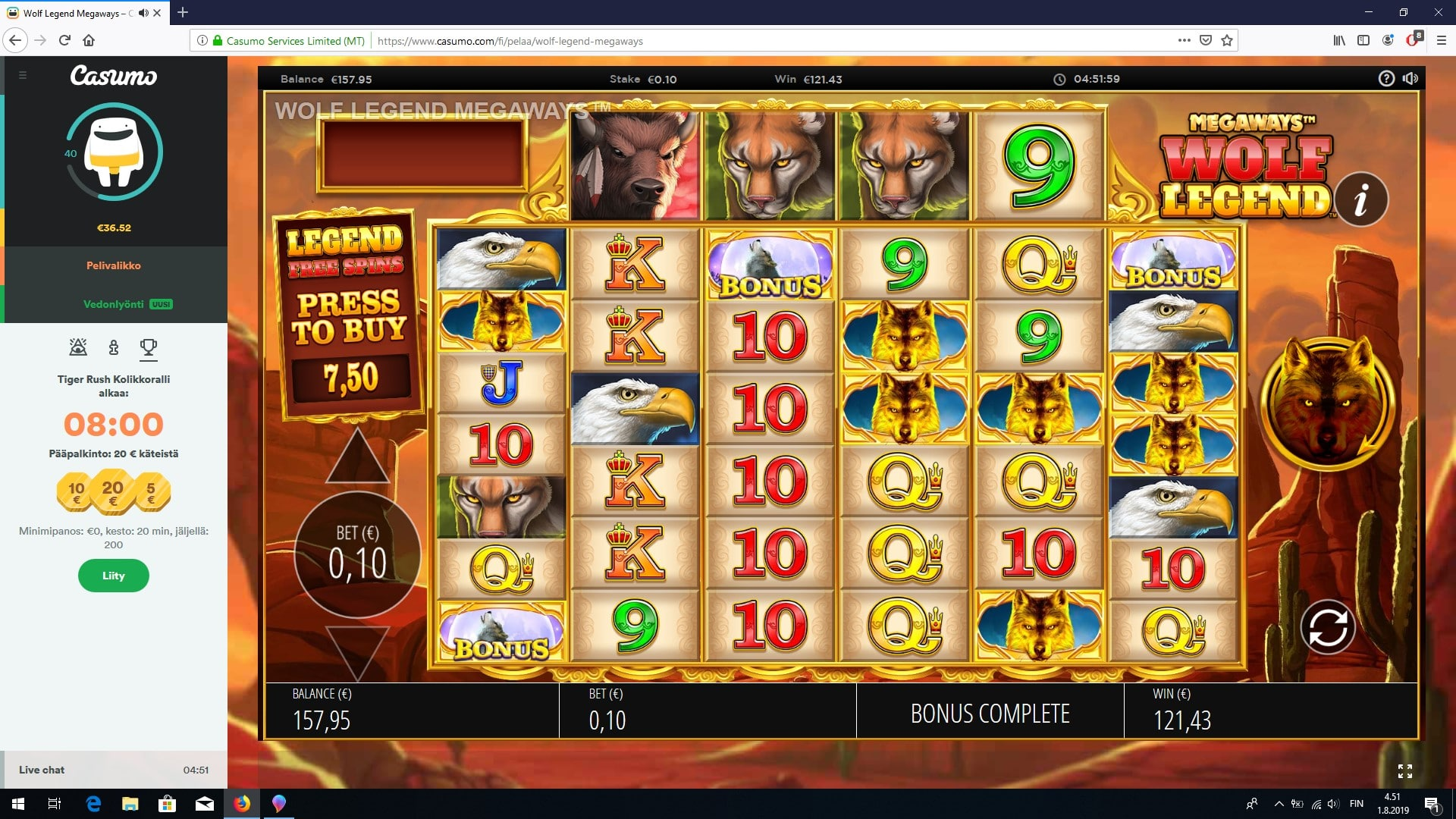 Wolf Legend Megaways Slot big win picture