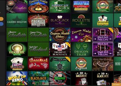 Horus Casino table games