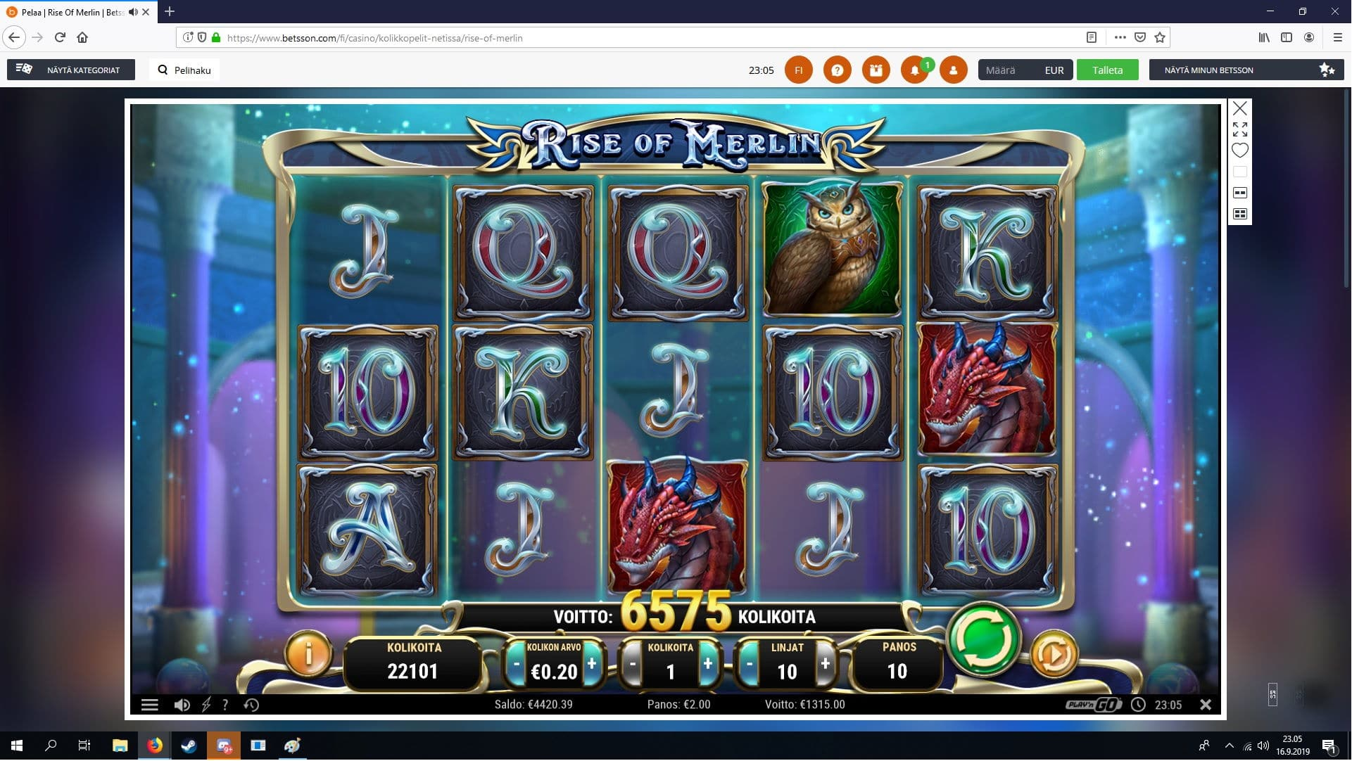 Rise of Merlin Big win Picture by gl1tch