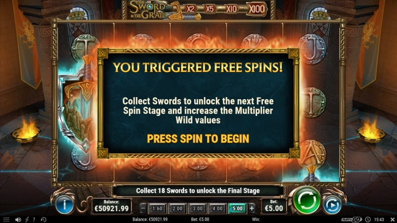 The sword and the grail Free Spins Screenshot