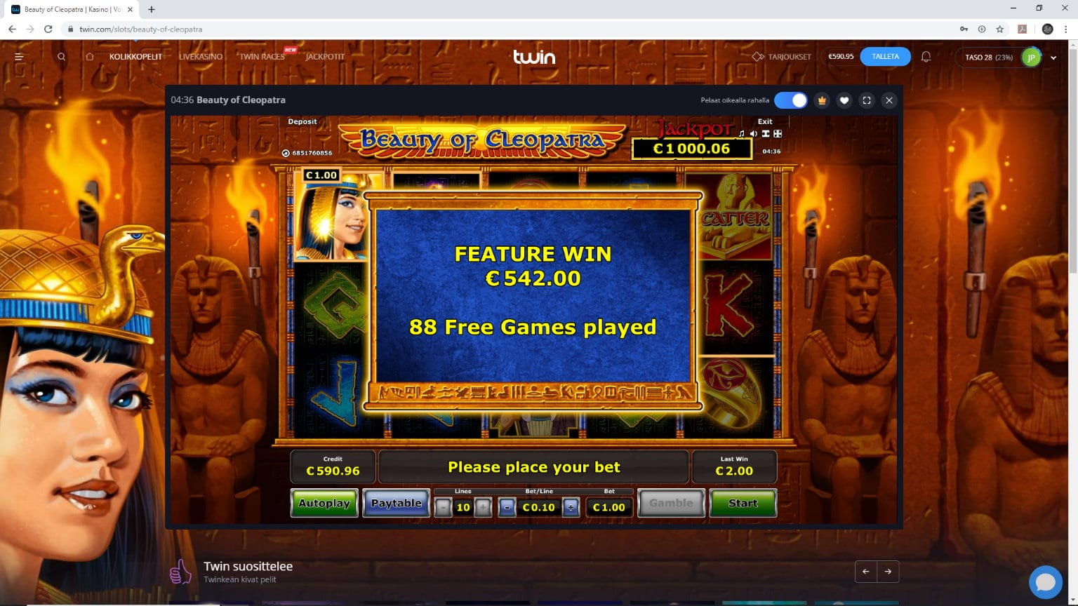 Beauty Of Cleopatra slot big win picture