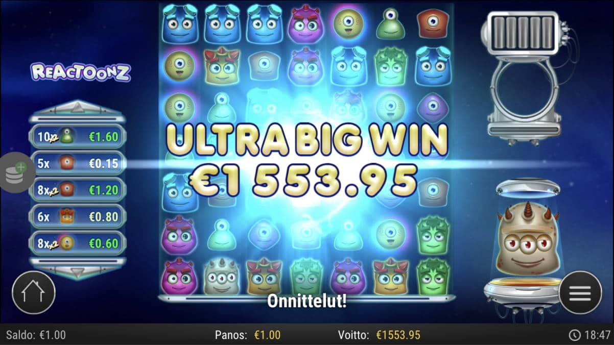 Reactoonz Slot big win picture