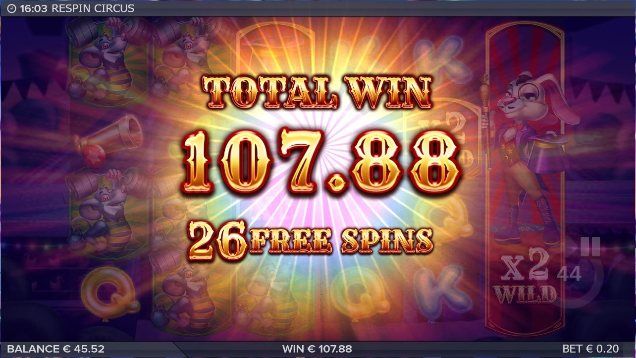 Respin Circus Slot big win picture