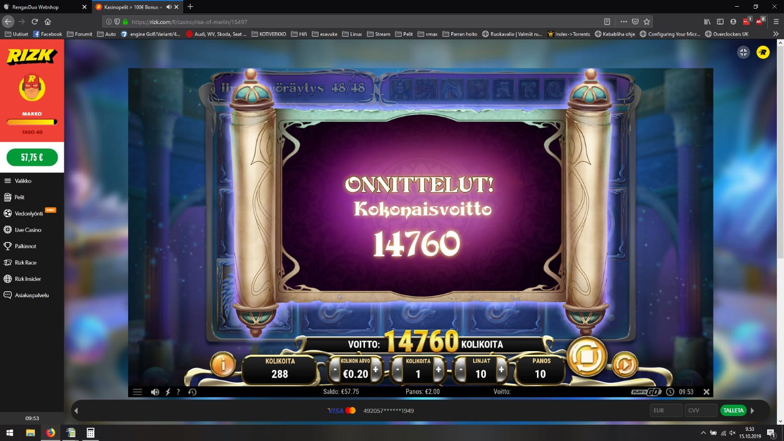 Rise of Merlin Slot Big Win Picture By Marko586