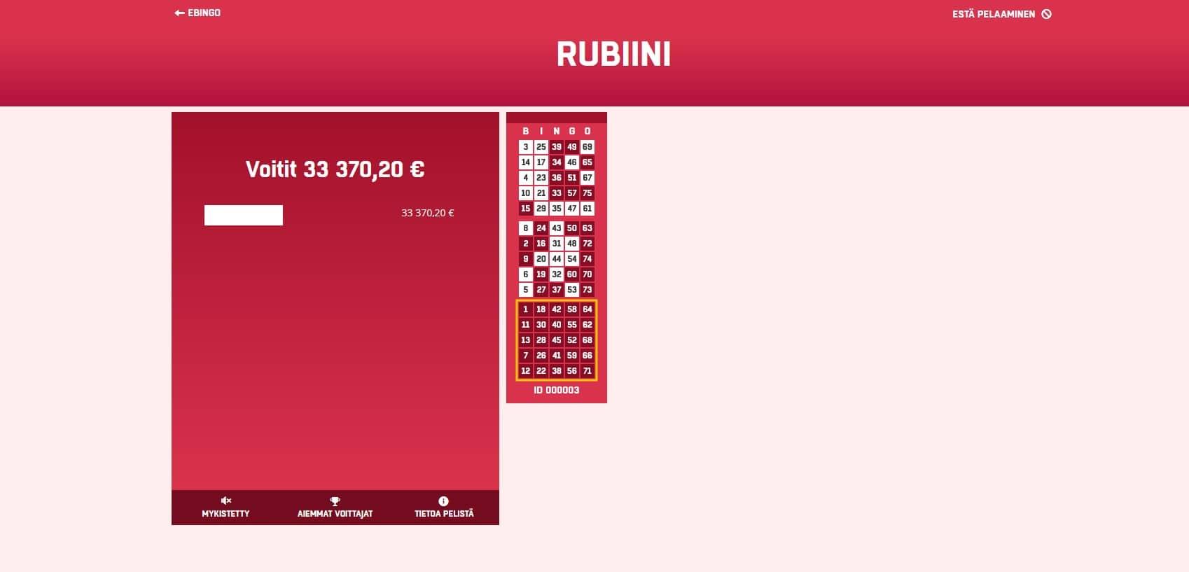 Rubiini Bingo Big Win Picture