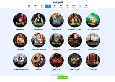 Simppeli Live Casino Games