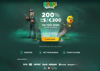 Spin Million Casino Landing Page