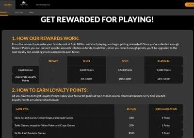 Spin Million Casino Loyalty program
