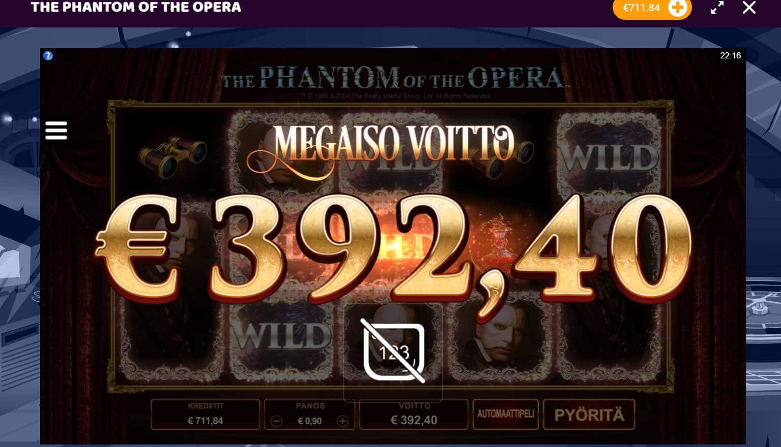 The Phanthom of the Opera Slot big win picture