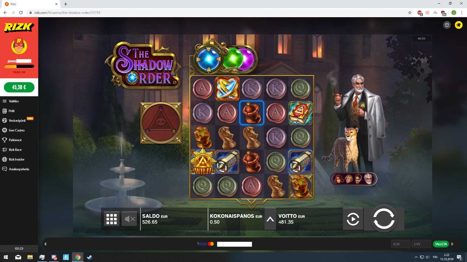 The Shadow Order slot big win picture