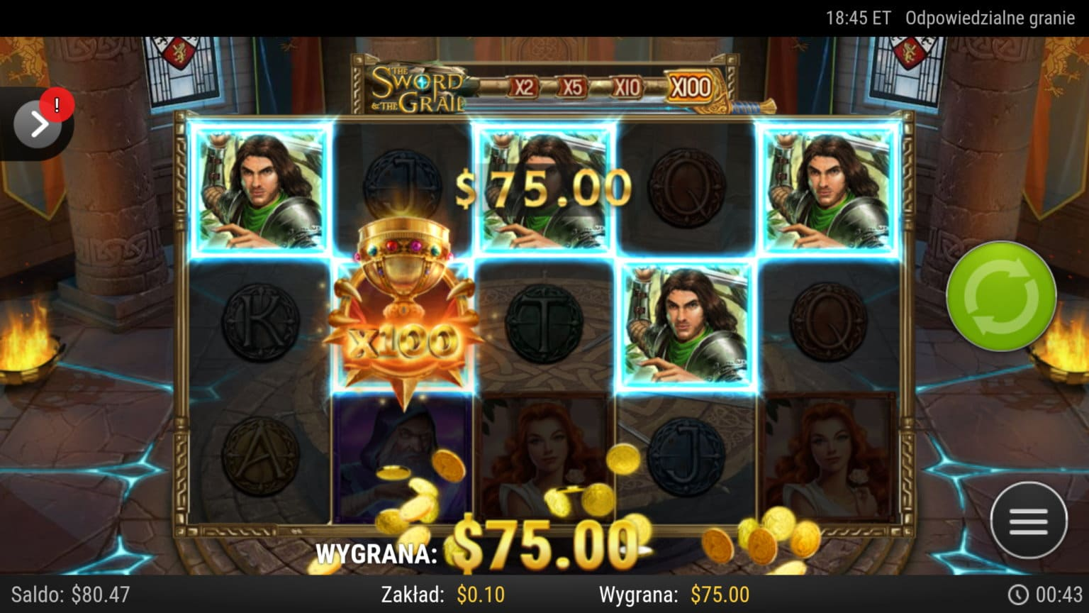 The Sword and the grail slot big win picture