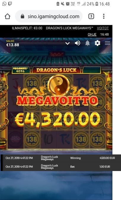 Dragon's Luck Megaways Big Win Picture