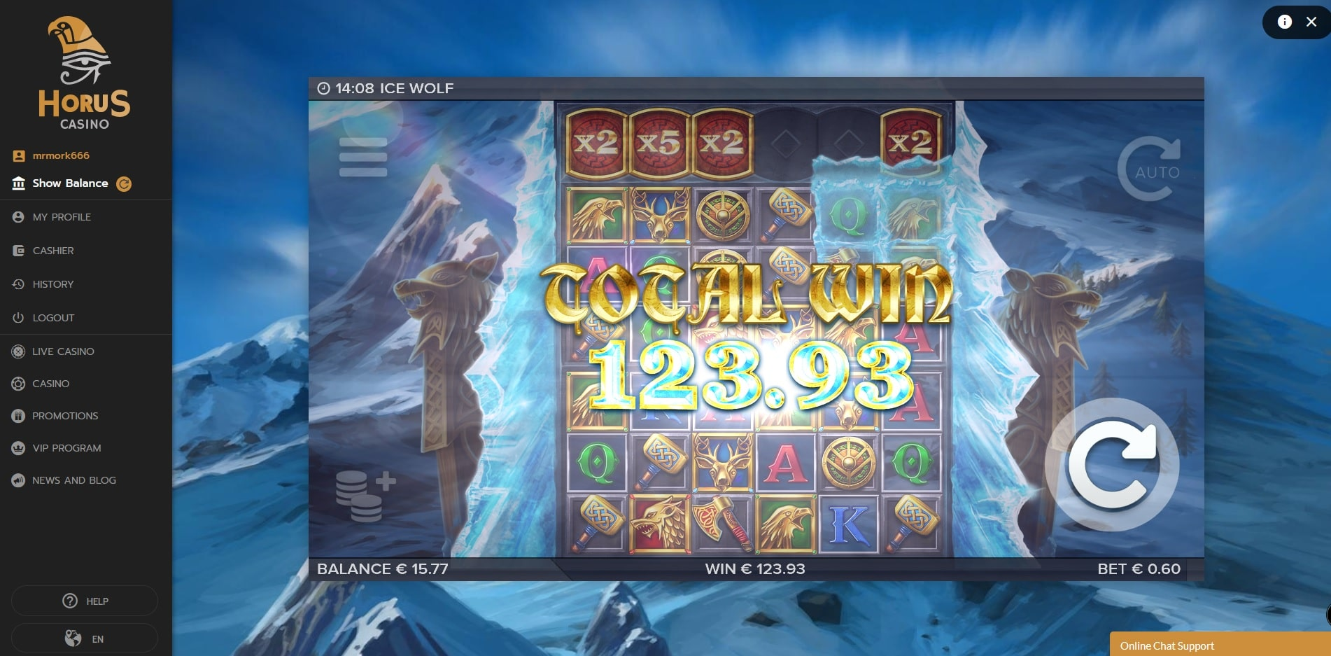 Ice Wolf Big Win Picture