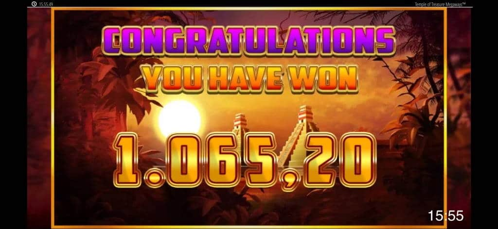 Temple of Treasure Megaways Big Win Picture