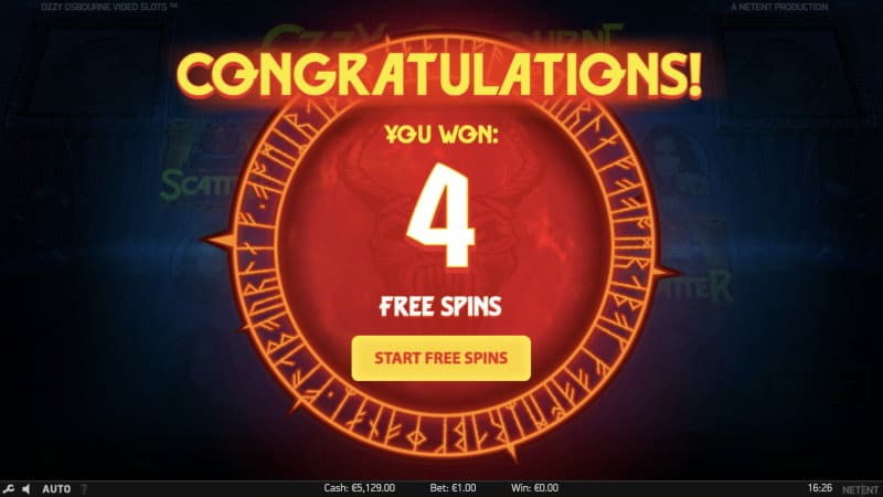 Ozzy osbourne Video Slot Free Spins