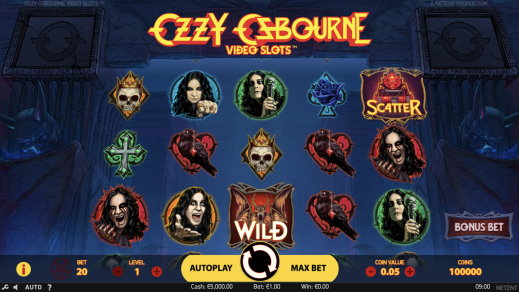 ozzy osbourne Video Slot main gameplay