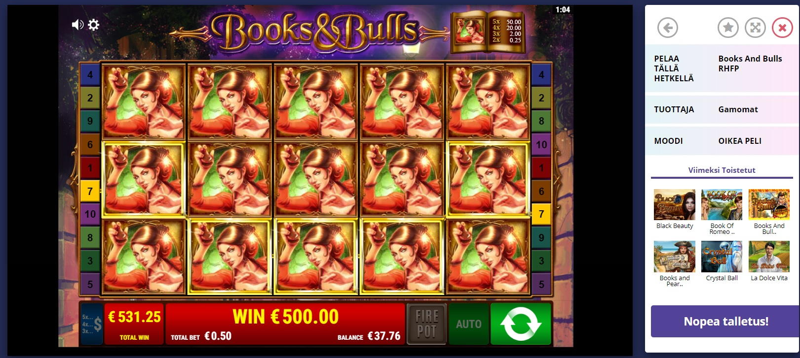 Books and Bulls Big Win Picture