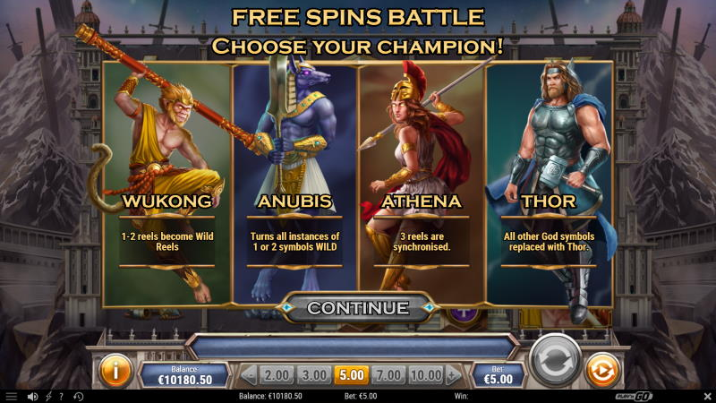 Divine Showdown Free Spins Feature
