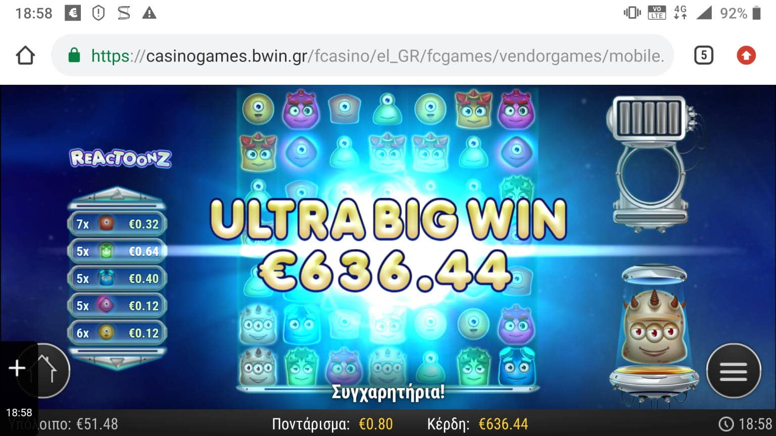 Reactoonz Big Win Picture