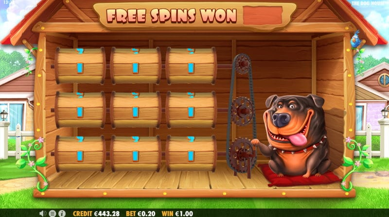 The Dog House Free Spins trigger Screenshot