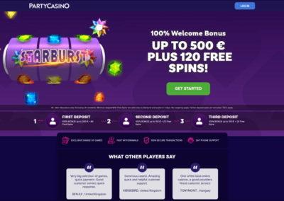 Partycasino Landing Page