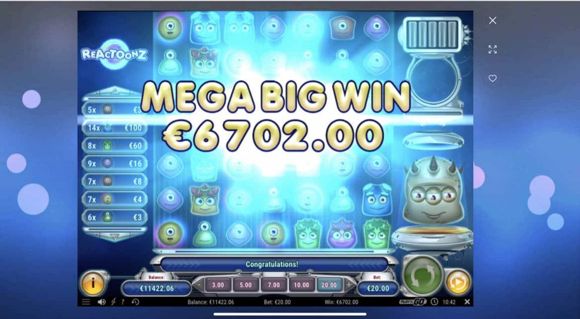 Reactoonz Big win picture by Pottijussi