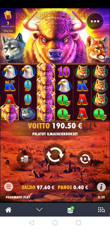 Buffalo King Big win picture by Hookos 21.3.2020 190.50e 476X