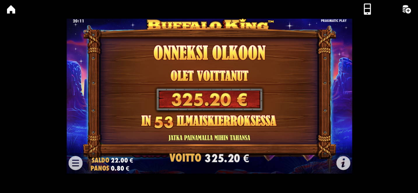 Buffalo King Big win picture by vesselis 22.1.2020 325.20e 407X