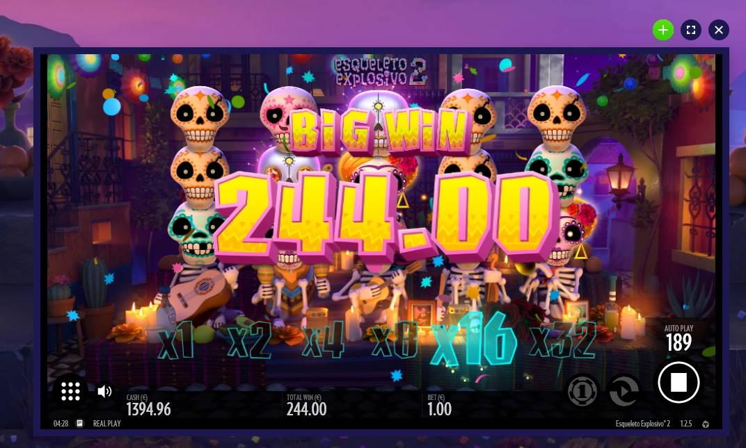 Esqueleto Explosivo 2 Big win picture by Mrmork666 3.3.2020 244e 244X Jinni Casino
