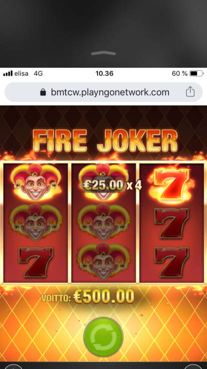 Fire Joker Casino win picture by BotsGu 24.3.2020 500e 500X