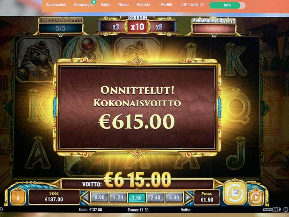 Legacy of Egypt Casino win picture by Vesselis 27.3.2020 615e 410X Leovegas
