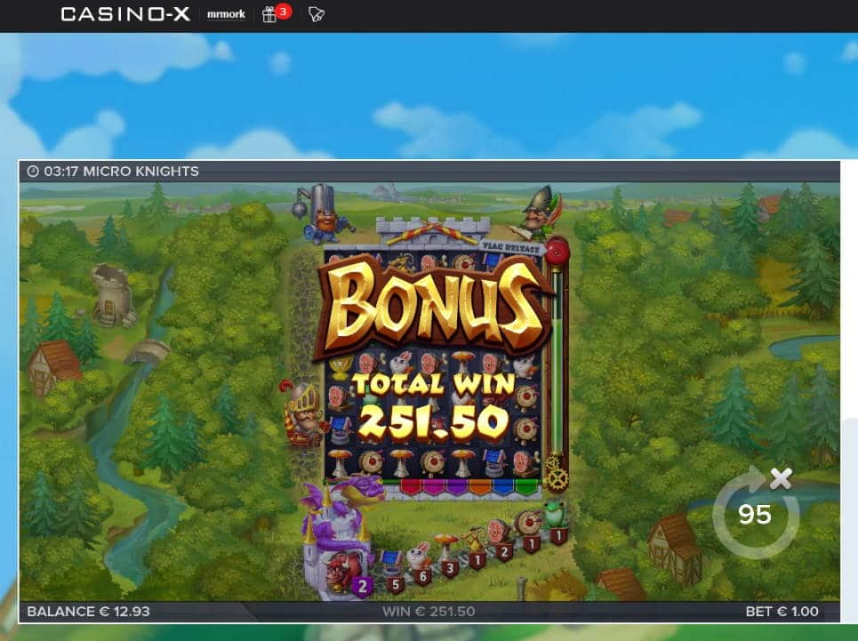 Micro Knights Big win picture by Mrmork666 20.3.2020 251.50e 252X Casino-X