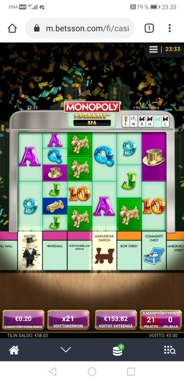 Monopoly Megaways Big win picture by Hookos 15.3.2020 153.82e 769X Betsson