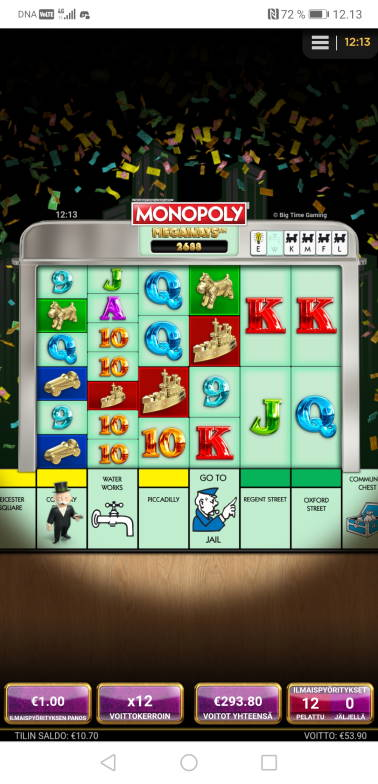 Monopoly Megaways Big win picture by Hookos 8.2.2020 293.80e 294X
