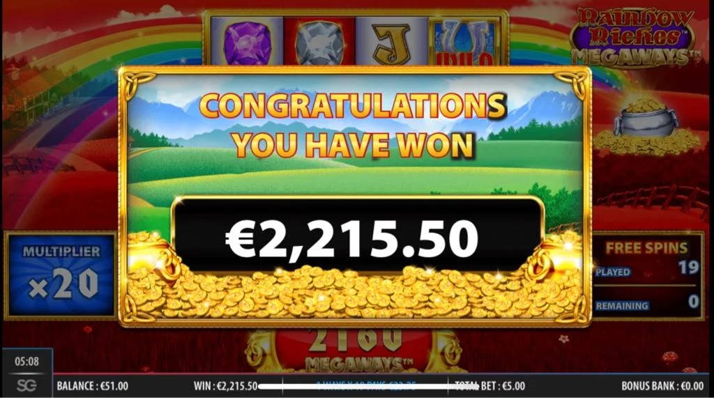 Rainbow Riches Megaways Big win picture by Jaakko11 8.3.2020 2215.50e 443X