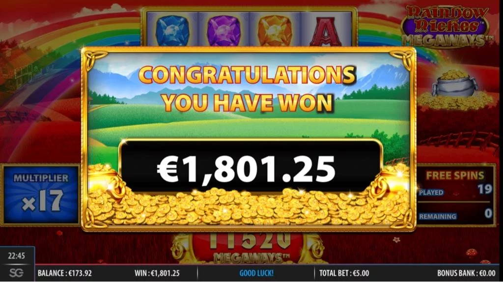 Rainbow Riches Megaways Casino win picture by Jaakko11 30.3.2020 1801.25e 360X