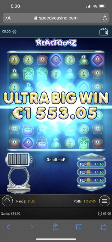 Reactoonz Big win picture by Tume 14.2.2020 1553.05e 1553X Speedy Casino